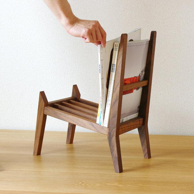 【book rest chair】マガジンラック/木桟の画像1枚目