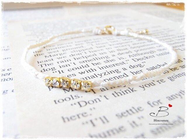 B094刺繍糸の四つ編みブレスレット-white-の画像1枚目