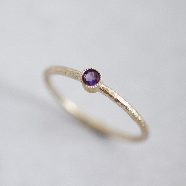 Amethyst one stone ring {R050K10AM}の画像1枚目