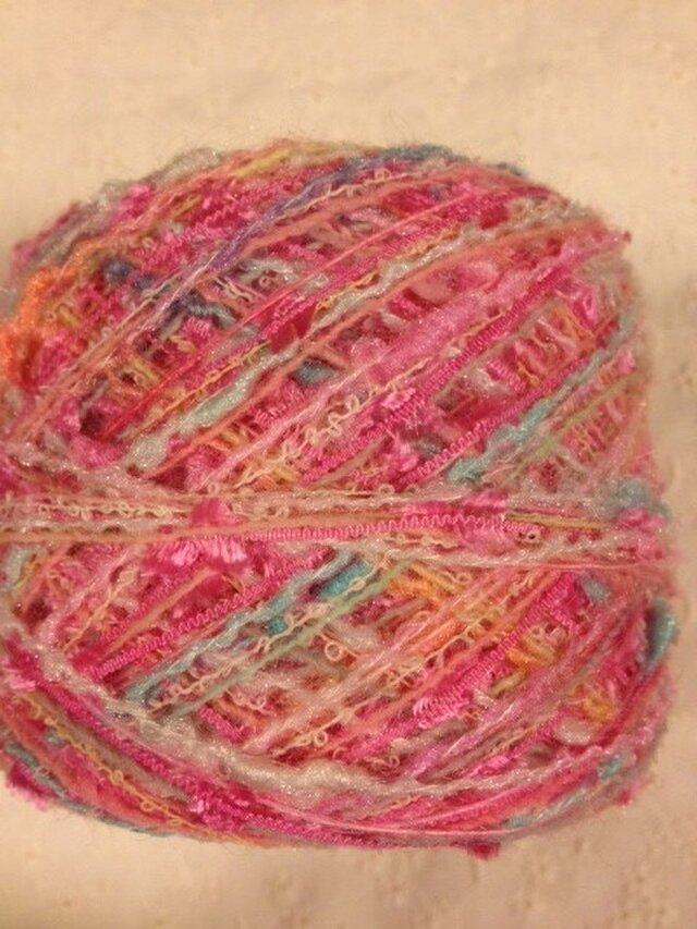 引き揃え糸 濃ピンク×ピンクフラッグ 80gの画像1枚目