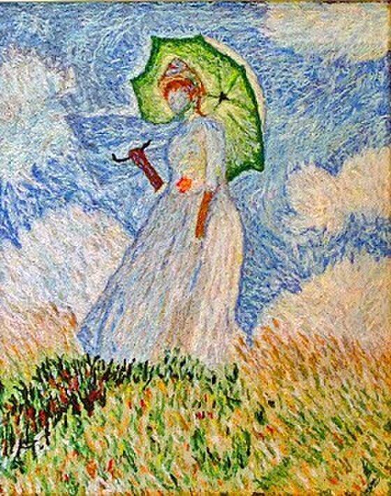 刺繍・モネの日傘をさす女(ミニ)の画像1枚目