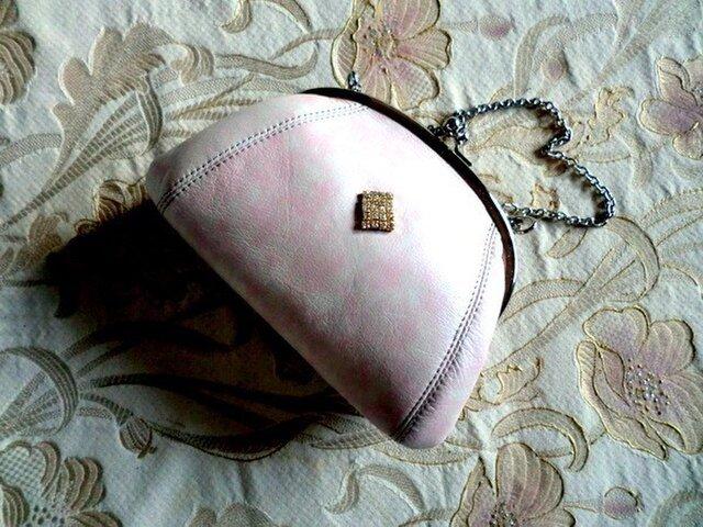 桜色の革のがま口 Mの画像1枚目