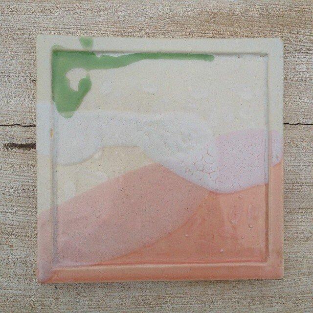 ピンクときみどりのスクエア皿の画像1枚目