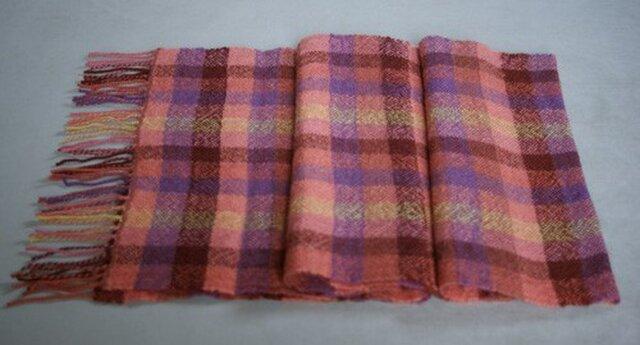 手織りのマフラー(格子柄)の画像1枚目