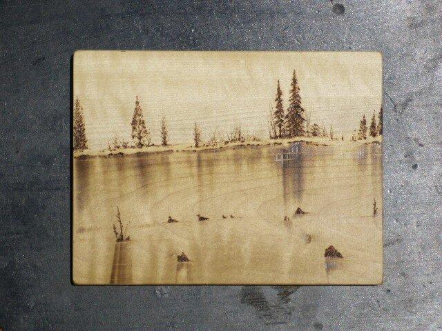 湖面 (焼き板絵)の画像1枚目