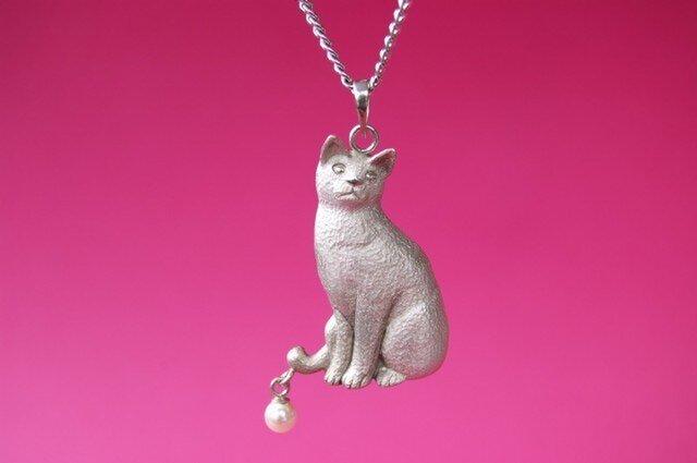 シルバー猫ペンダントネックレスの画像1枚目