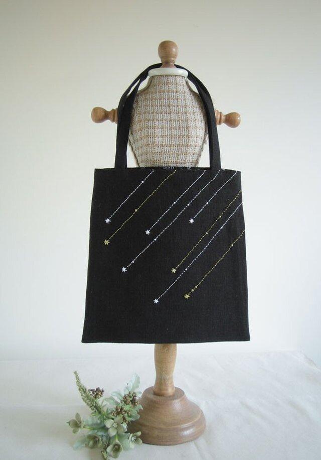 流れ星の手さげバッグ (Black)の画像1枚目