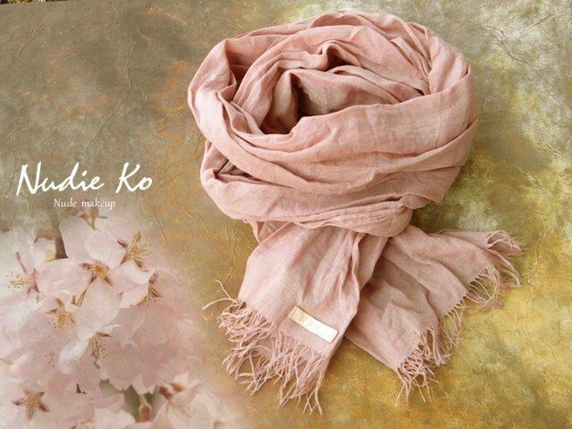草木染ストール 桜-sakura-  椿灰&明礬媒染の画像1枚目