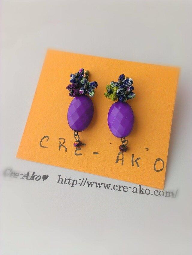 ♥送料0♥Pastille violette ちりめんの花ピアスの画像1枚目