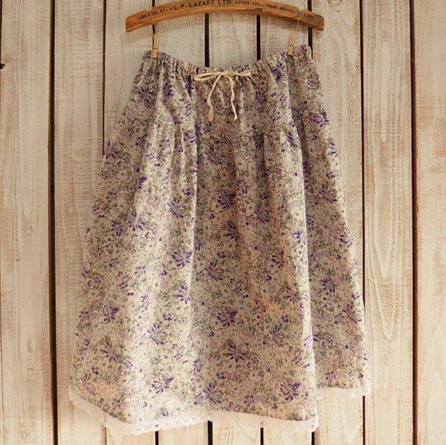 2段ティアードスカート(No.05/紫小花)の画像1枚目