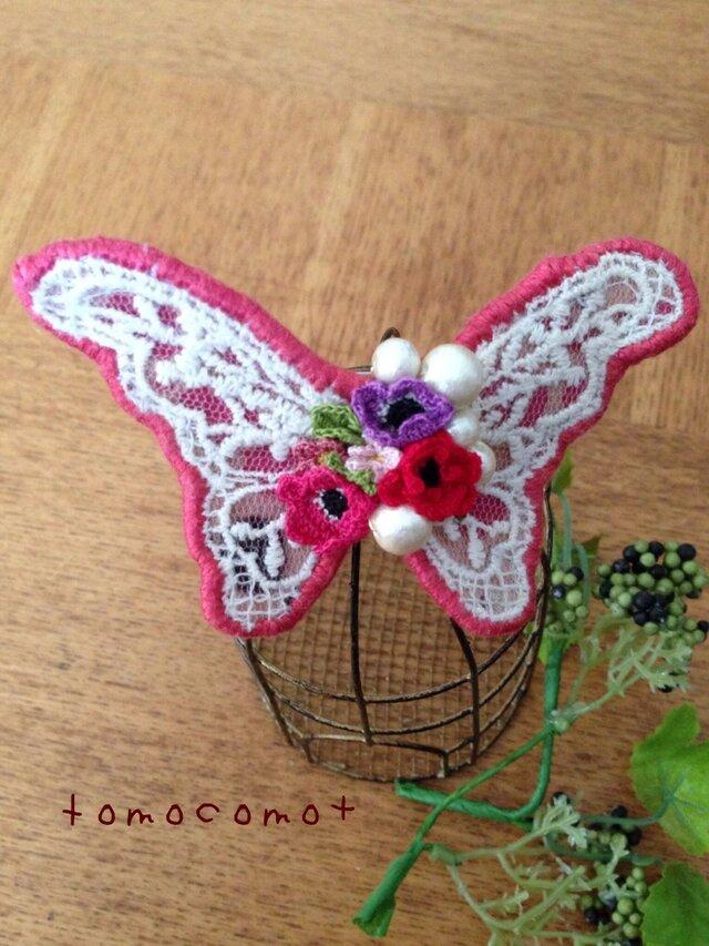 蝶々のバレッタ(ピンク系)の画像1枚目