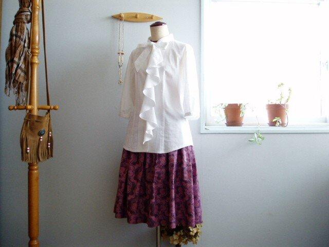 【参考商品】ひらひらラッフル付ブラウス&タックギャザースカートの画像1枚目