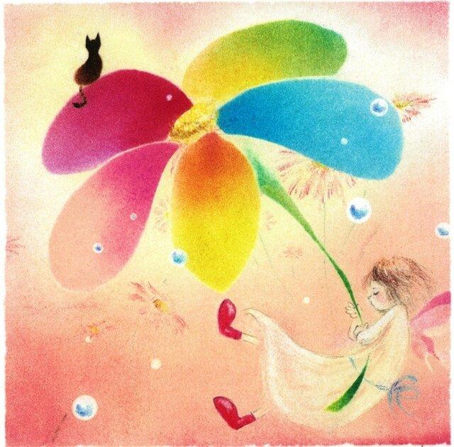 【原画】花のパラソル(パステルアート)の画像1枚目