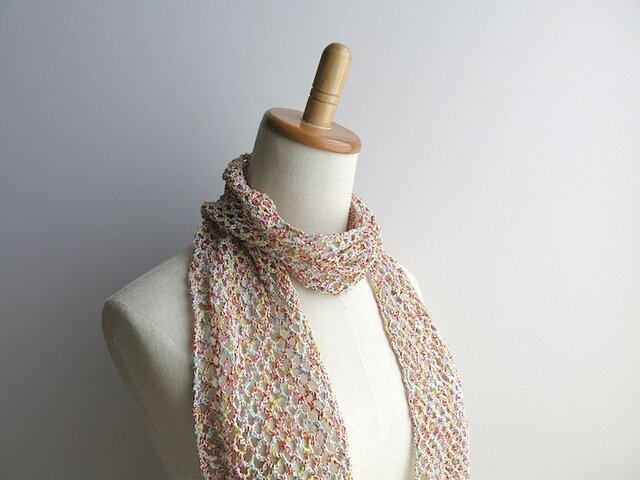 綿糸のストール(リングミックス)の画像1枚目