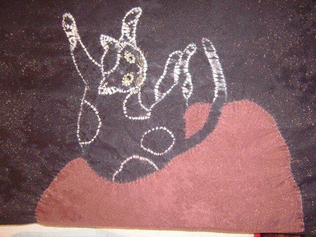 手描き染め 絞り帯 猫の画像1枚目