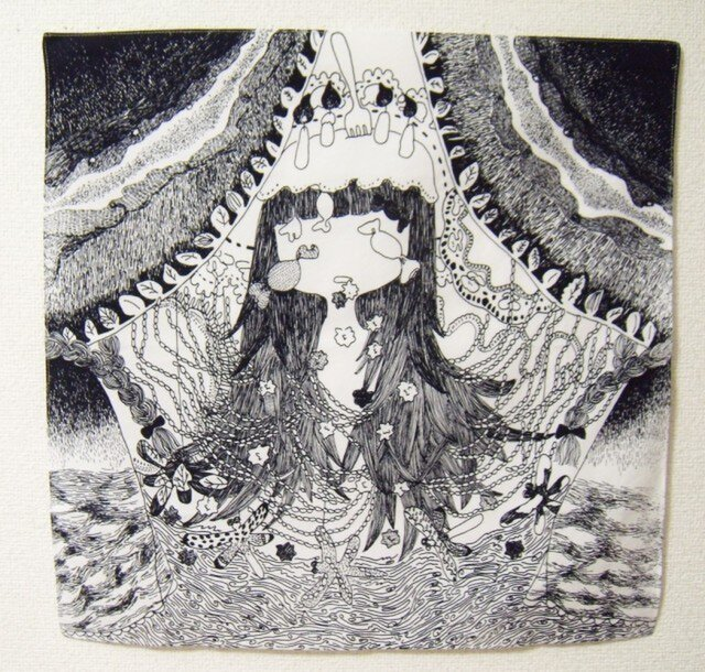 つくもおうじょ オオゲツヒメ 綿ブロードハンカチの画像1枚目