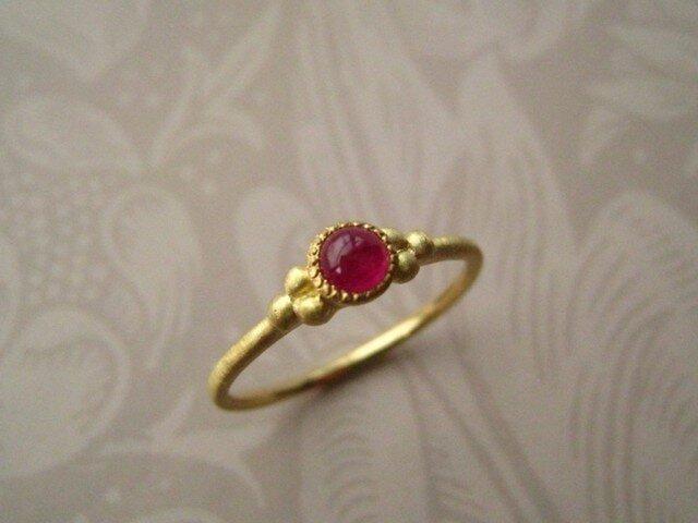 K18 ルビー カボション Ringの画像1枚目