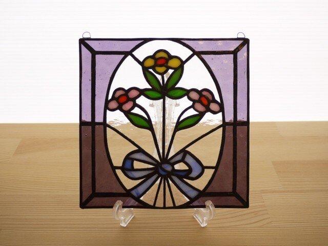ステンドグラス ミニパネル 花束 15cmの画像1枚目