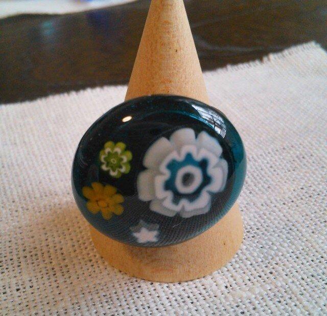 ガラスのリング(花・シーブルー)の画像1枚目