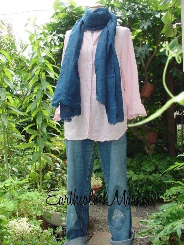 自然染め リネンのストール(藍染め)の画像1枚目