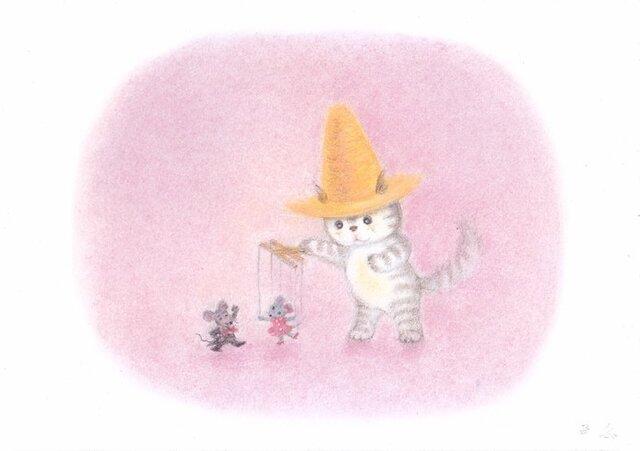 麦藁帽子をかぶった猫 マリオネットの画像1枚目