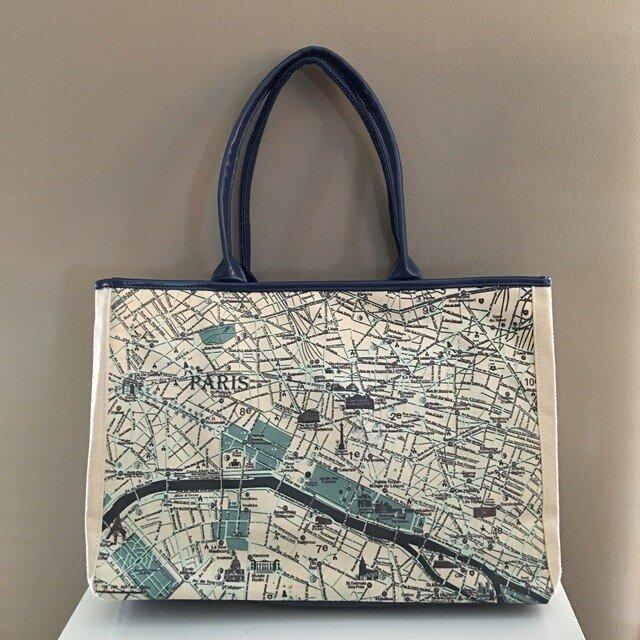 パリ大好き♪ キャンバストートマップ(トートバッグ)L パリの画像1枚目