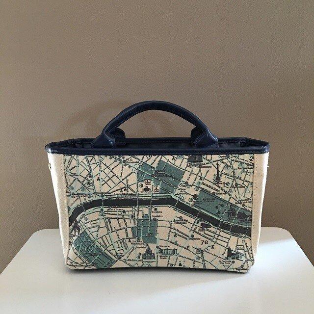 パリ大好き♪ キャンバストートマップ(トートバッグ)S パリの画像1枚目