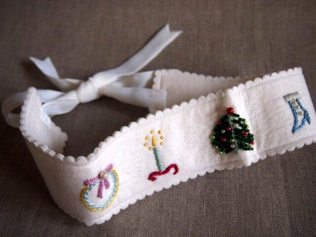 クリスマス刺繍のフェルトのインテリア飾りの画像1枚目