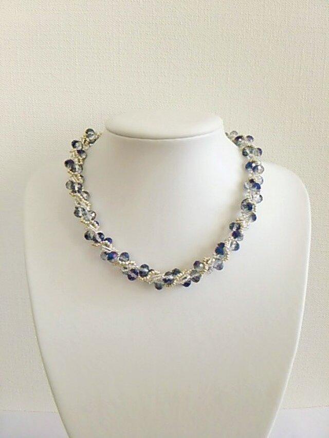 ●sold out●42cm ブルー系カットガラスのネックレスの画像1枚目