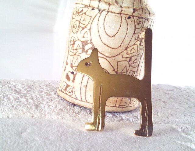 Brass Cat Brooch 【M】 真鍮の猫ブローチの画像1枚目