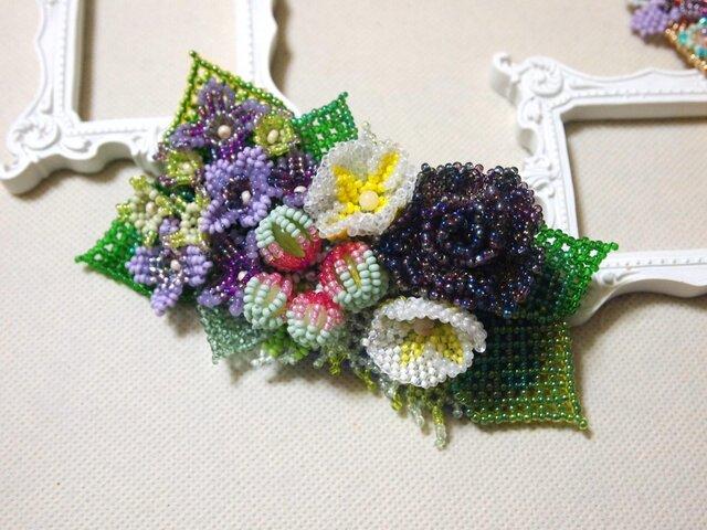 バレッタ Bouquet(紫陽花・ブラックローズ)の画像1枚目