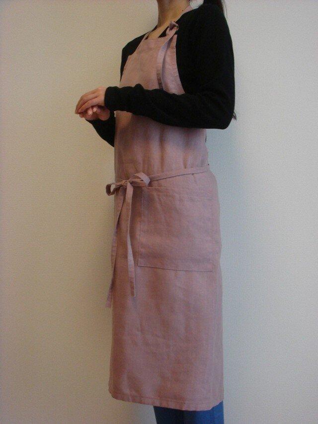 ☆リネン:丈87cm グレイッシュピンクのエプロン☆の画像1枚目
