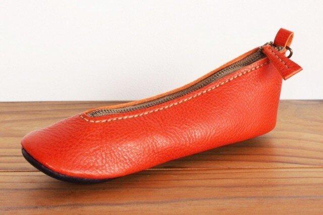 靴型ペンケース OR×NV #8-1 (イタリアンレザー)の画像1枚目