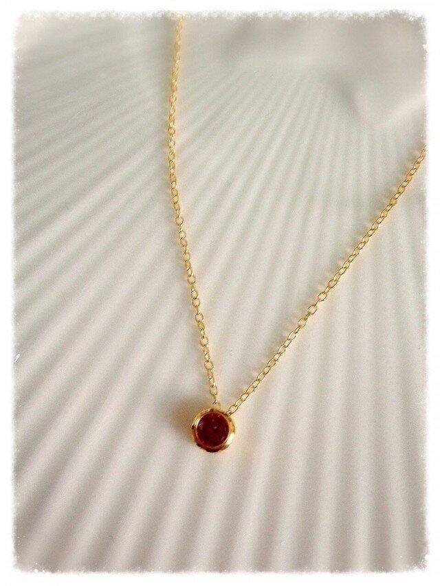 Sold14kgf★ジルコニアガーネットのネックレスの画像1枚目