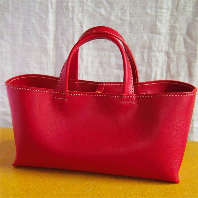 【M様オーダー品】しっかり横長トートバッグ(赤色・M)の画像1枚目
