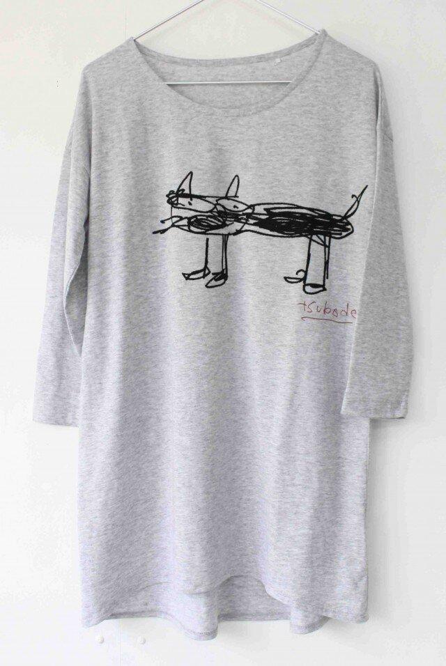 ☆ M様ご注文専用 ネコプリントTシャツ/ライトグレーの画像1枚目