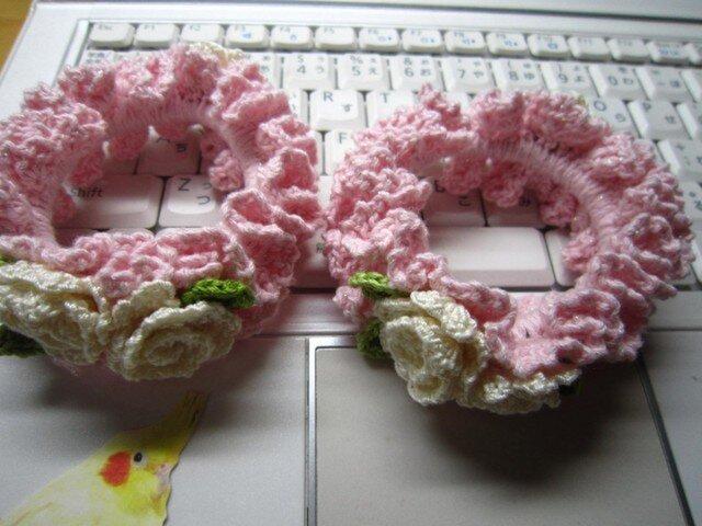 2個セット・白いお花のシュシュの画像1枚目