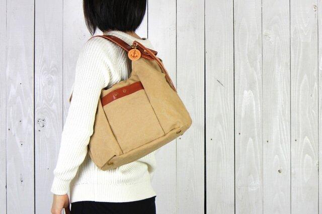 tanton-mini_タン(タンニン染め帆布×レザーバッグ)の画像1枚目