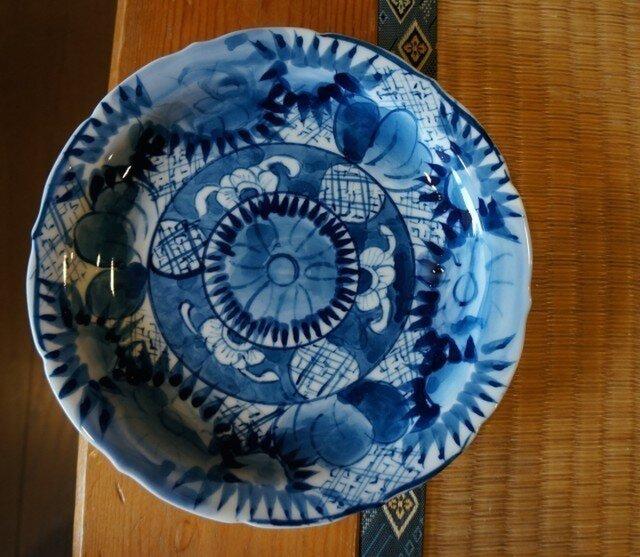 染付け 花紋 輪花ケーキ皿 srcp14003の画像1枚目