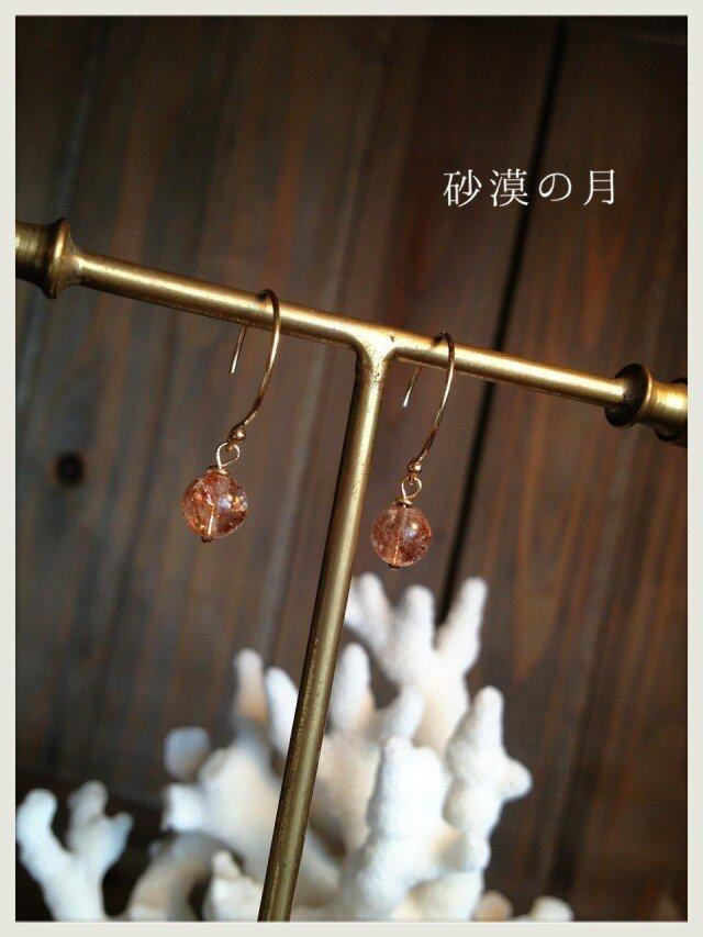 宝石質サンストーン1粒ピアス14kgfの画像1枚目