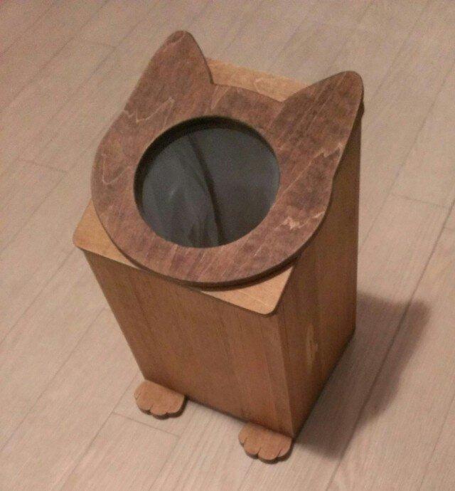 受注製作☆ネコのゴミ箱☆ダストボックスの画像1枚目