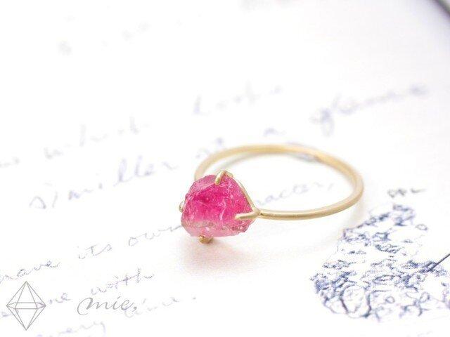 ◆稀少なディープピンクトルマリン ルベライト原石リングの画像1枚目