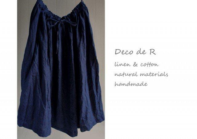限定インディゴ染めリネンのスカートの画像1枚目