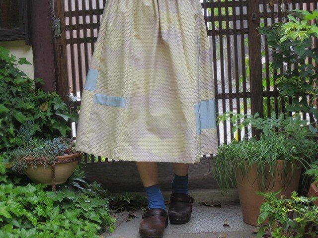 着物リメイク☆5月の空のようなふんわり大人スカート♪73cm丈の画像1枚目
