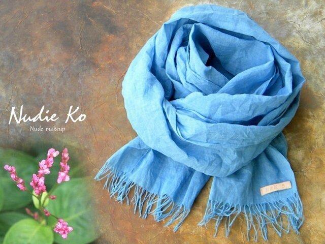 草木染ストール 藍-ai-  Japan Blueの画像1枚目
