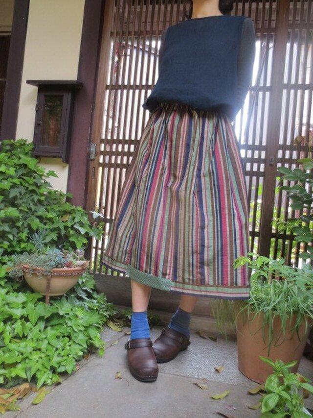 紬でリメイク☆粋な縞柄をキュートに着てみたいスカート74㎝丈の画像1枚目