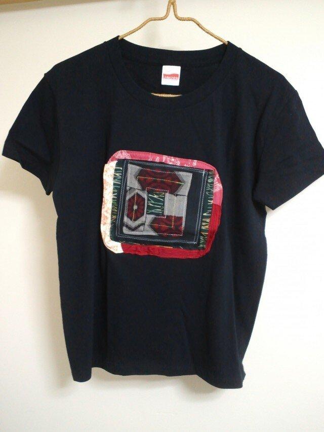 コラージュTシャツ*着物地*黒Lサイズの画像1枚目