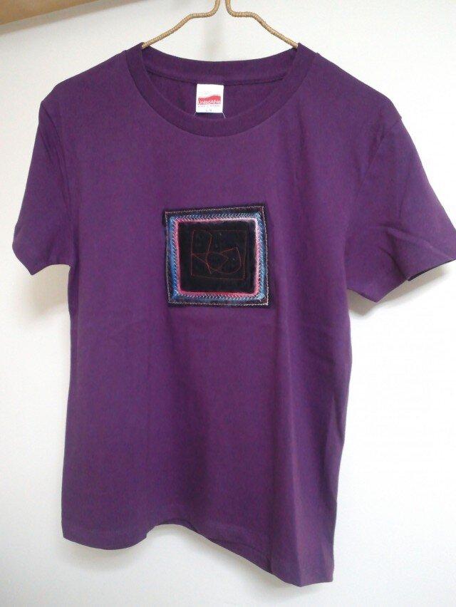 コラージュTシャツ*スパンコール*紫Mサイズの画像1枚目