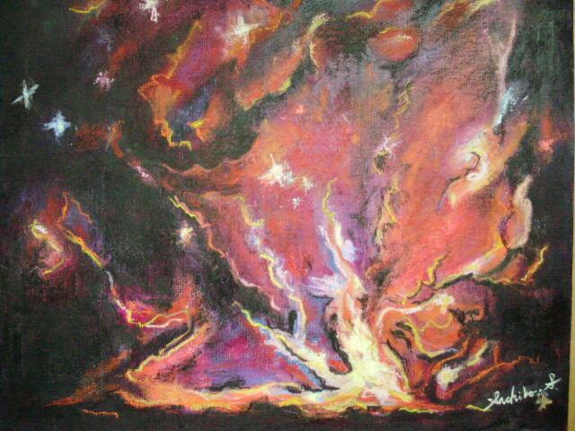 絵画インテリア キャンバス画 油絵 cosmos 誕生 2の画像1枚目