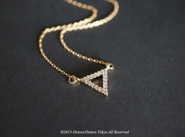 【14KGF】Necklace,CZ Triangleの画像1枚目